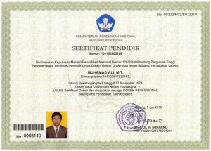 Sertifikat Pendidik Muhamad Ali, MT